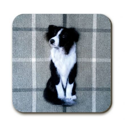 Border Collie Coaster by Sharon Salt